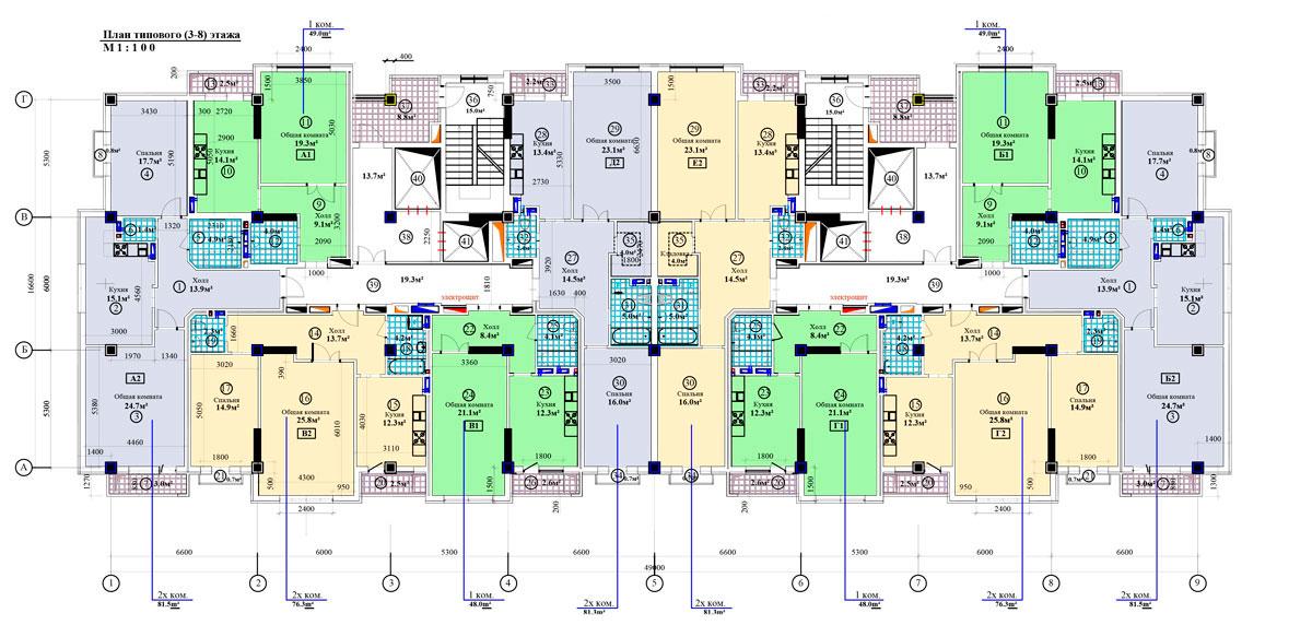 План типового (3-8) этажа