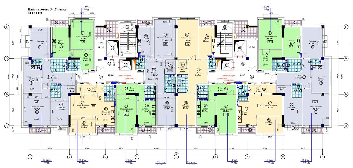 План типового (9-12) этажа