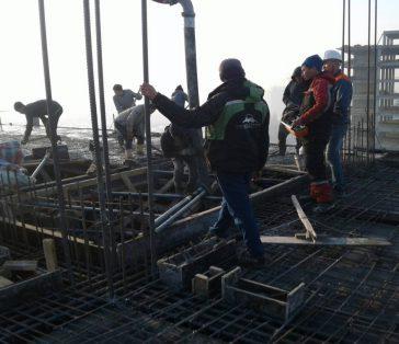 Январь 2018 г — заливка бетона -9 этаж.